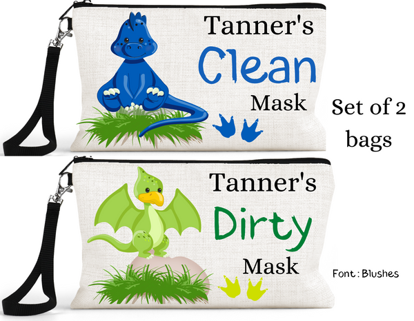 "Accessory/Essential Bag ""Dinosaurs"" Clean, Dirty, Kids Mask Bags Set/2"