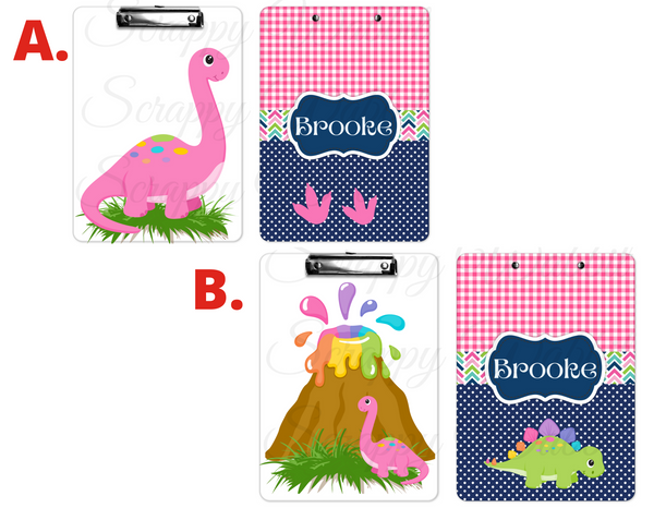 "Clipboard ""Pink Dinosaur"" Kids Personalized Clipboards,"