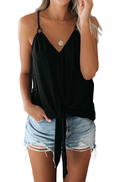 "Top ""Black Quicksand Tortoiseshell Detailed Tie Tank"""