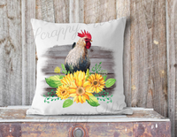 Rooster Sunflower, Farmhouse, Pillow Cover