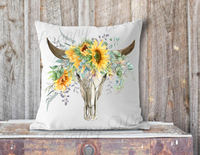 """Bull Skull"" Sunflowers, Farmhouse, Pillow Cover"