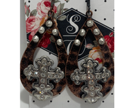 "Earrings ""Metal Rhinestone Cross"" Earring"""