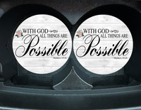 "Car Coaster ""With God All Things Are Possible"" Set/2"