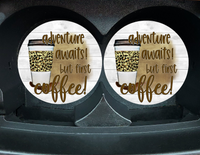 "Car Coaster ""Adventure Awaits! But First Coffee"" Set/2"