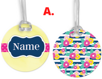 Yellow, Navy Flowers, Name Tags, Personalized, Kids,