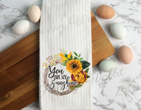 "Kitchen Towel ""You Are My Sunshine"" Grapevine Wreath"