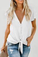"""White Forever Tonight Button Tie Top"""