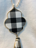 "Necklace ""Leather Tassel, Buffalo Plaid, Blk Pendant"""