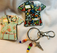 "Keychain ""Scrubs Butterfly Floral"" Nurse, Vet, Dental"