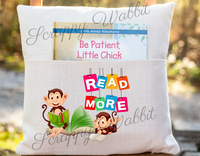 "Pocket Pillow Cover ""Monkeys Read More"""