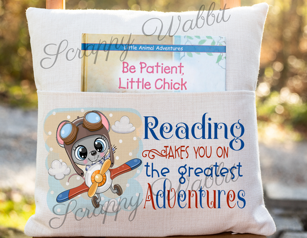 "Pocket Pillow Cover ""Reading Takes You on Adventures"""