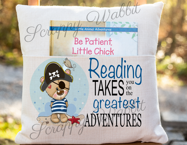 "Pocket Pillow Cover ""Reading Takes You on Adventures"" Bear Pirate"