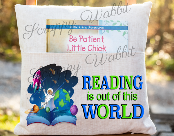 "Pocket Pillow Cover ""Reading is the World"""
