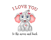 "Pocket Pillow Cover ""Elephant I Love You"" Pink, Blue"