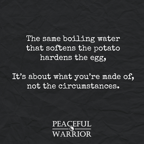 The same boiling water that softens the Potato hardens the Egg..