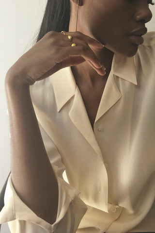 Pod Rings by Mahnal Contemporary Brass Jewelry, worn by model London Knight