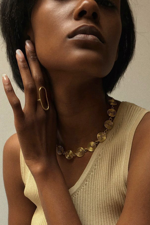 Modern brass statement ring by Mahnal