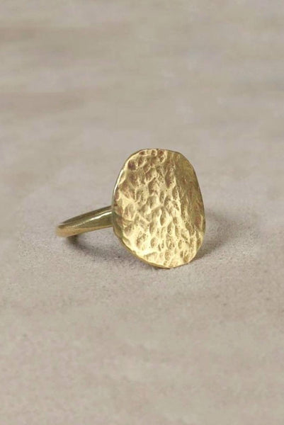 Signet style modern ring in a contemporary jewelry style - Mahnal Contemporary Brass Jewelry or Modern brass jewelry