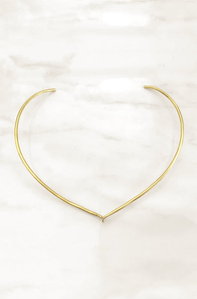 Contemporary jewelry & a classic collar necklace. Modern necklace with a wishbone style. Modern brass jewelry