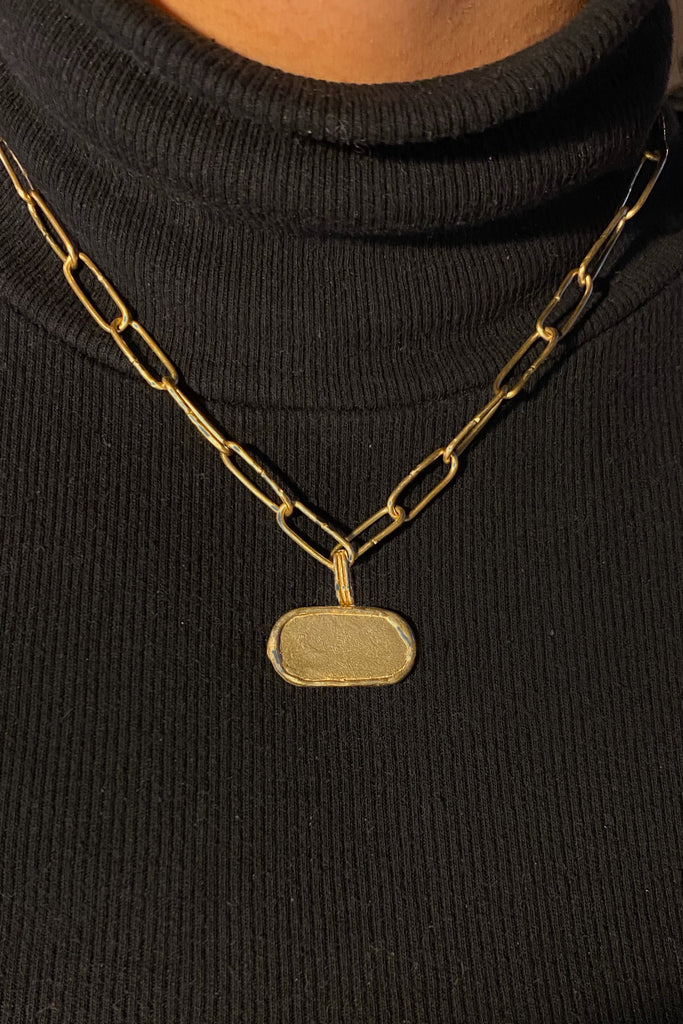 Maraya Talisman Necklace (Horizontal)- Modern Brass Jewelry