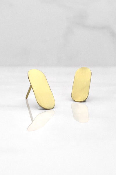 Petite Kabsula Earrings - Mahnal Jewelry - Contemporary Brass Jewelry
