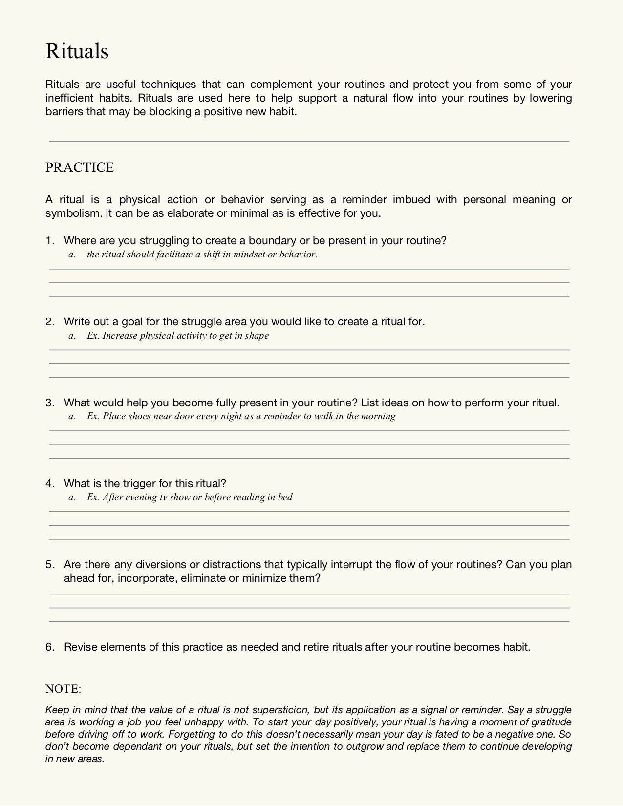 Ritual Worksheet