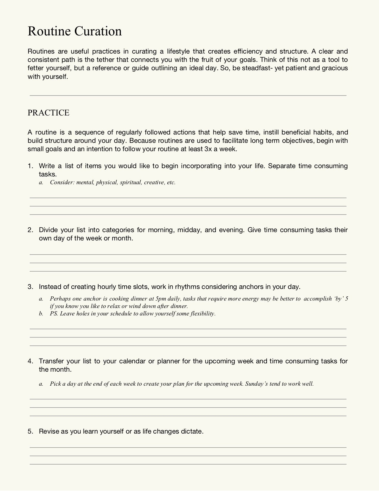 Routine Curation Worksheet