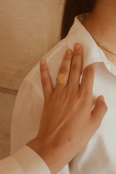 Hammered signet contemporary ring in a modern jewelry style - Mahnal Modern Brass Jewelry or Contemporary brass jewelry