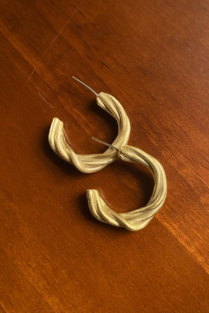 Vine Hoop Earrings- Modern Brass Jewelry