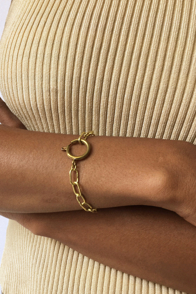 A handcrafted classic link bracelet in a contemporary jewelry style. Modern brass bracelet or modern jewelry.
