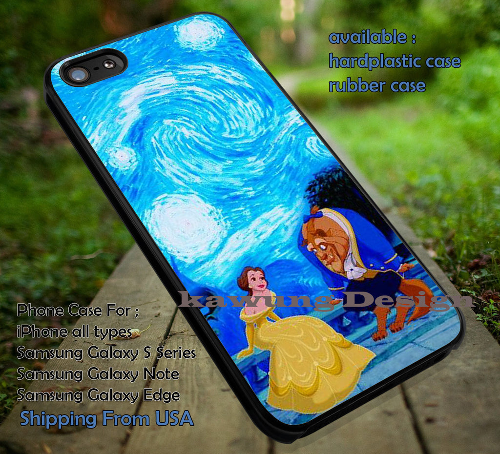 Beauty and The Starry Night, Van Gogh, Belle, Beauty Beast, Starry Night Disney, case/cover for iPhone 4/4s/5/5c/6/6+/6s/6s+ Samsung Galaxy S4/S5/S6/Edge/Edge+ NOTE 3/4/5 #cartoon #disney #animated #beautyandthebeast ii - Kawung Design  - 1