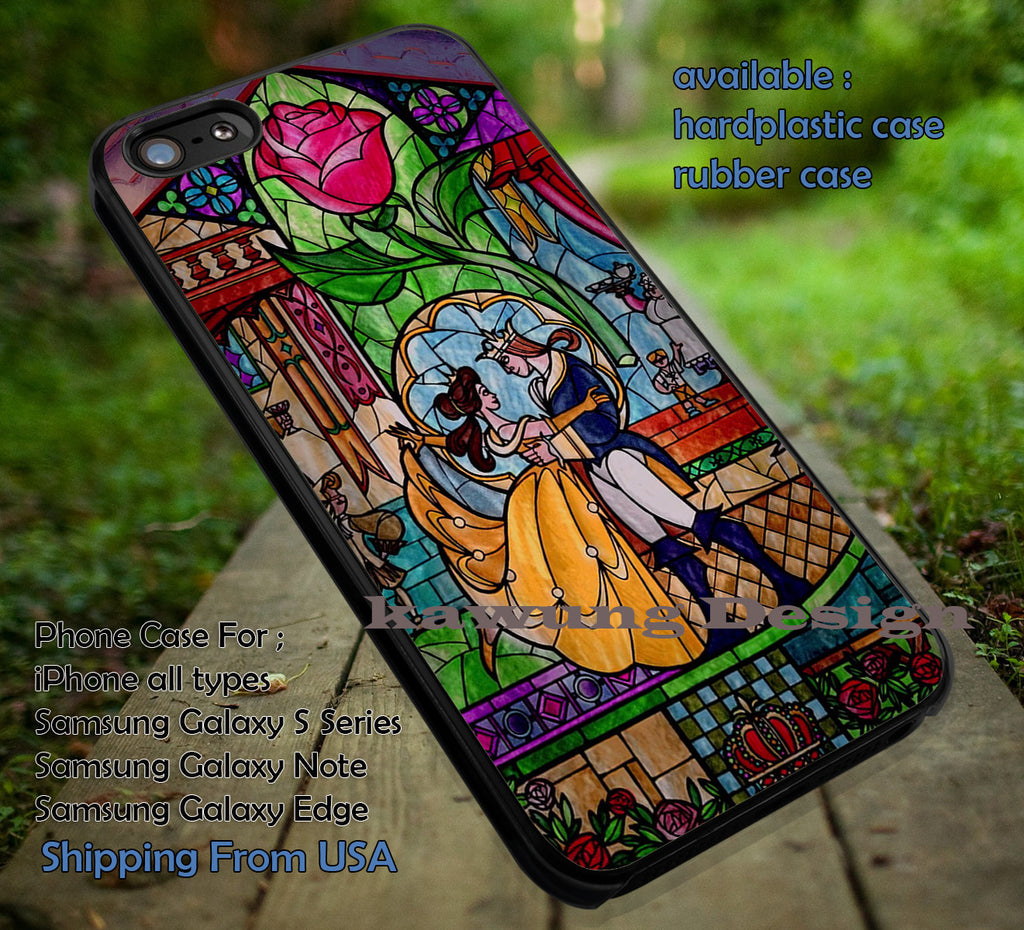 Beauty Stained Glass, Beauty Beast, Stained Glass, Rose Stained Glass, Disney Princess, case/cover for iPhone 4/4s/5/5c/6/6+/6s/6s+ Samsung Galaxy S4/S5/S6/Edge/Edge+ NOTE 3/4/5 #cartoon #disney #animated #beautyandthebeast ii - Kawung Design  - 1