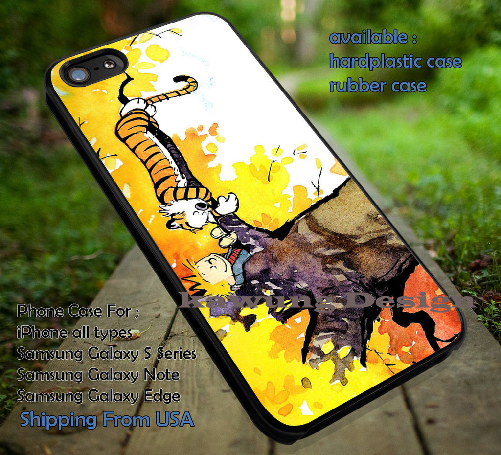 Best Friends Story, Calvin and Hobbes, Best Friend,  case/cover for iPhone 4/4s/5/5c/6/6+/6s/6s+ Samsung Galaxy S4/S5/S6/Edge/Edge+ NOTE 3/4/5 #cartoon #anime #calvinandhobbes ii - Kawung Design  - 1