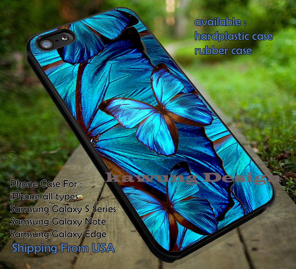 Blue Butterfly Art Pattern | Birds and Butterfly | Art Painting | case/cover for iPhone 4/4s/5/5c/6/6+/6s/6s+ Samsung Galaxy S4/S5/S6/Edge/Edge+ NOTE 3/4/5 #cartoon ii - Kawung Design  - 1
