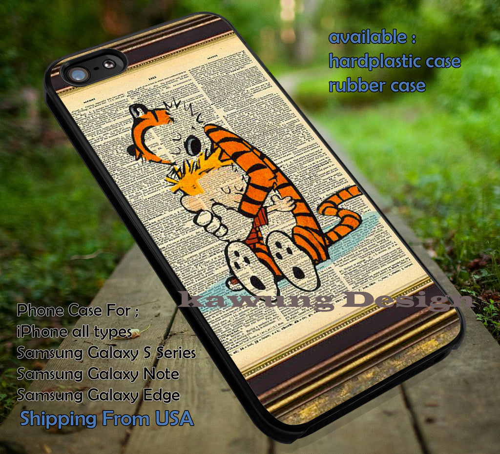 Calvin and Hobbes Print Vintage Dictionary, Best Friend, Cartoon, Vintage, Calvin and Hobbes, case/cover for iPhone 4/4s/5/5c/6/6+/6s/6s+ Samsung Galaxy S4/S5/S6/Edge/Edge+ NOTE 3/4/5 #cartoon #anime #calvinandhobbes ii - Kawung Design  - 1