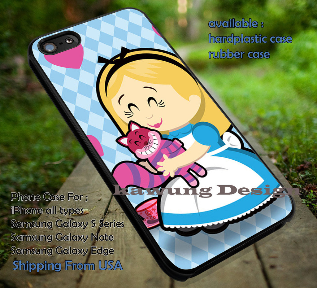 Alice And Wonderland With Her Cat Chesire, Disney Princess, Chesire, Alice Chibi, case/cover for iPhone 4/4s/5/5c/6/6+/6s/6s+ Samsung Galaxy S4/S5/S6/Edge/Edge+ NOTE 3/4/5 #cartoon #anime #alice ii - Kawung Design  - 1