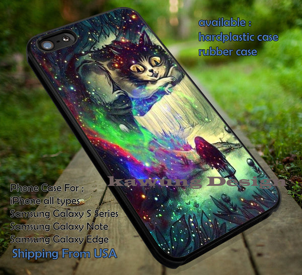 Alice In Wonderland And Chesire Cat, At Night, Bling Bling, Disney, Hue Color, case/cover for iPhone 4/4s/5/5c/6/6+/6s/6s+ Samsung Galaxy S4/S5/S6/Edge/Edge+ NOTE 3/4/5 #cartoon #anime #alice ii - Kawung Design  - 1