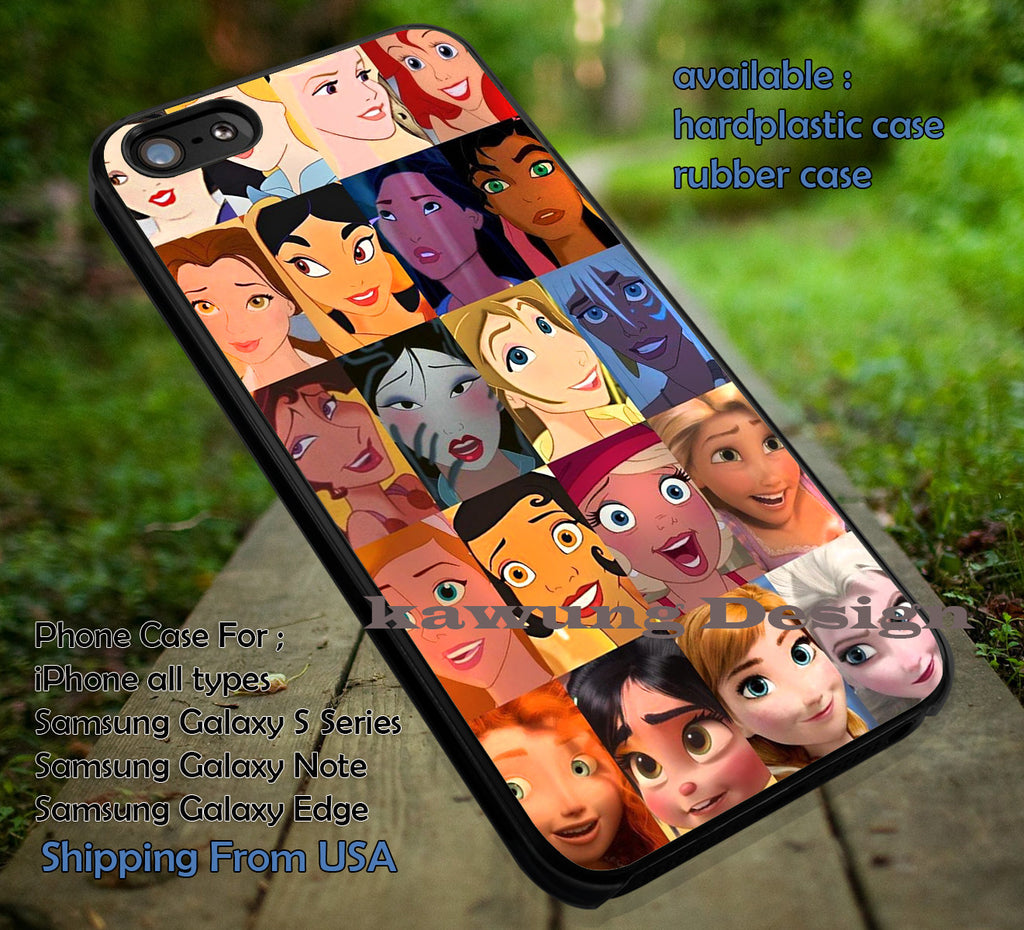 All Face Princess, Snow White, Elsa, Beautifull, All Disney, Princess, case/cover for iPhone 4/4s/5/5c/6/6+/6s/6s+ Samsung Galaxy S4/S5/S6/Edge/Edge+ NOTE 3/4/5 #cartoon #disney #animated #disneycastle #movie ii - Kawung Design  - 1
