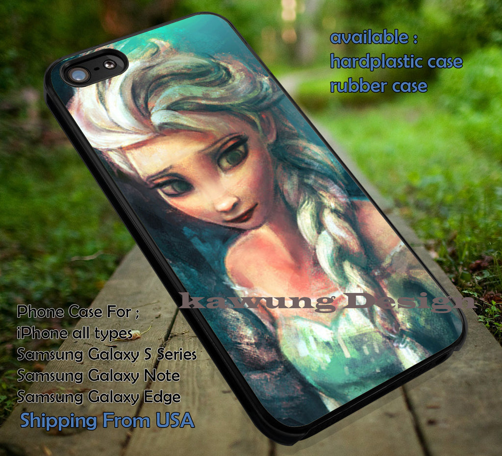 Amazing Elsa Frozen on Canvas, Princess, Elsa, case/cover for iPhone 4/4s/5/5c/6/6+/6s/6s+ Samsung Galaxy S4/S5/S6/Edge/Edge+ NOTE 3/4/5 #cartoon #disney #animated  #frozen ii - Kawung Design  - 1