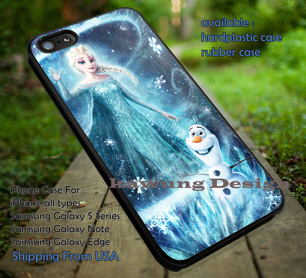 Amazing Ice Power Disney Princess Elsa Frozen Olaf Amazing Case Cover for iPhone 4/4s/5/5c/6/6+/6s/6s+ Samsung Galaxy S4/S5/S6/Edge/Edge+ NOTE 3/4/5 #cartoon #disney #animated  #frozen ii - Kawung Design  - 1