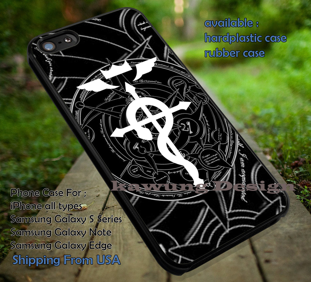 Anime Logo Symbol - Full Metal Alchemist - Case/Cover for iPhone 4/4s/5/5c/6/6+/6s/6s+ Samsung Galaxy S4/S5/S6/Edge/Edge+ NOTE 3/4/5 #cartoon #sherlock ii - Kawung Design  - 1