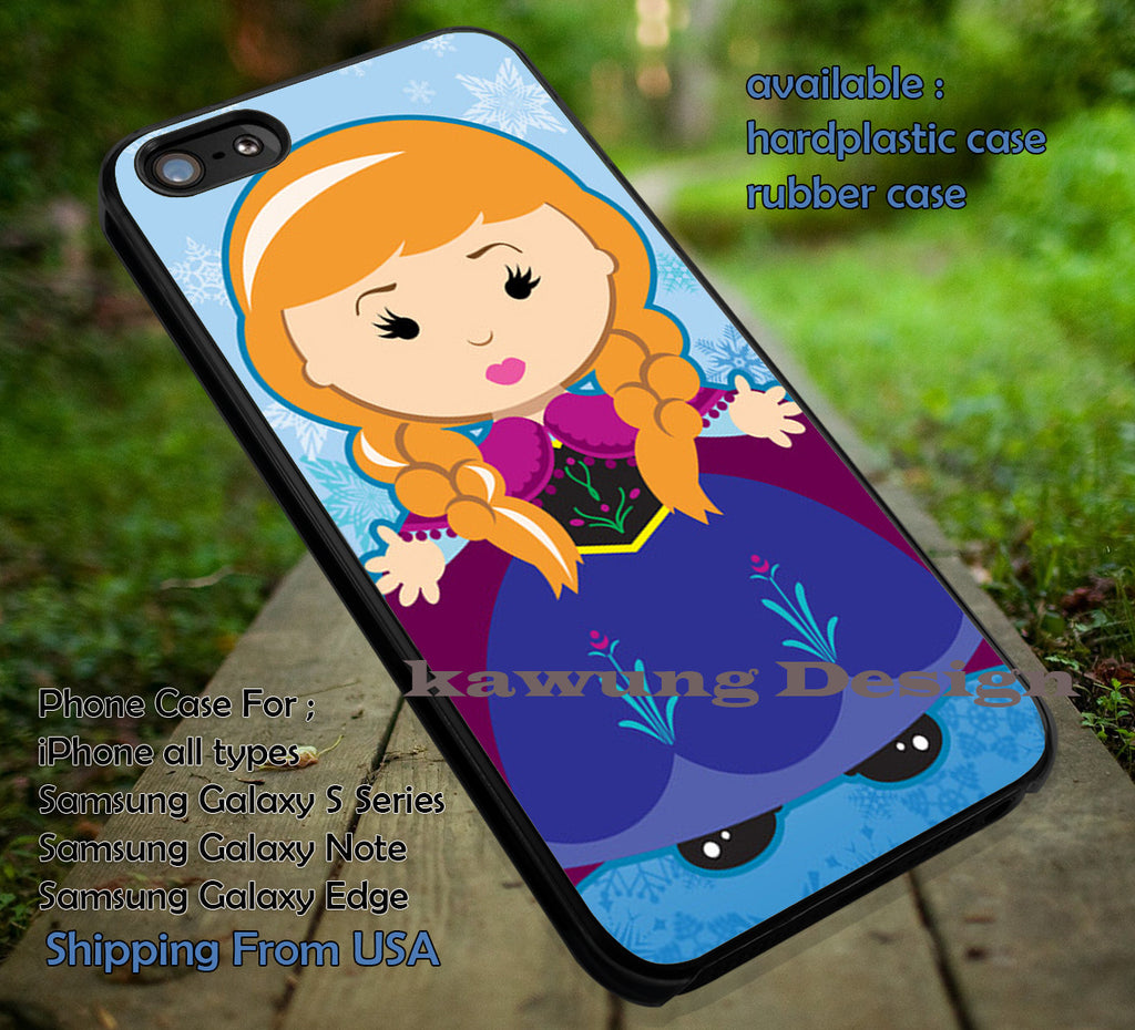 Anna Frozen Chibi case/cover for iPhone 4/4s/5/5c/6/6+/6s/6s+ Samsung Galaxy S4/S5/S6/Edge/Edge+ NOTE 3/4/5 #cartoon #disney #animated  #frozen ii - Kawung Design  - 1