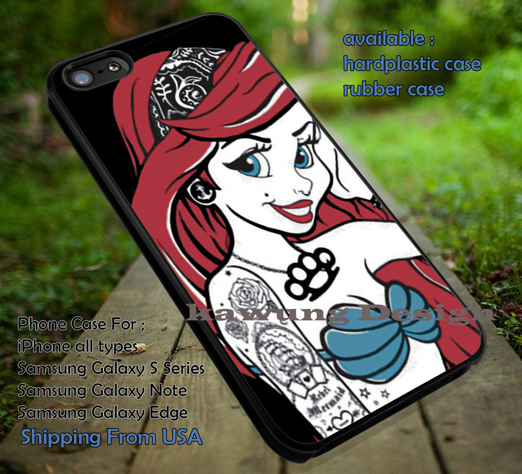 Ariel The Mermaid Tattoo case/cover for iPhone 4/4s/5/5c/6/6+/6s/6s+ Samsung Galaxy S4/S5/S6/Edge/Edge+ NOTE 3/4/5 #cartoon #disney #animated #theLittleMermaid ii - Kawung Design  - 1