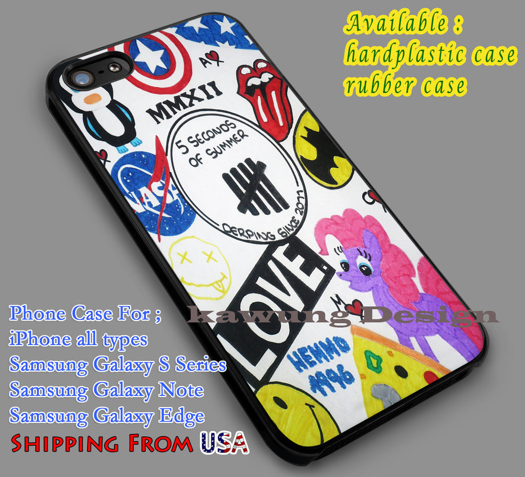 5SOS Drawing iPhone 6s 6 6s+ 5c 5s Cases Samsung Galaxy s5 s6 Edge+ NOTE 5 4 3 #music #5sos dl7 - K-Designs