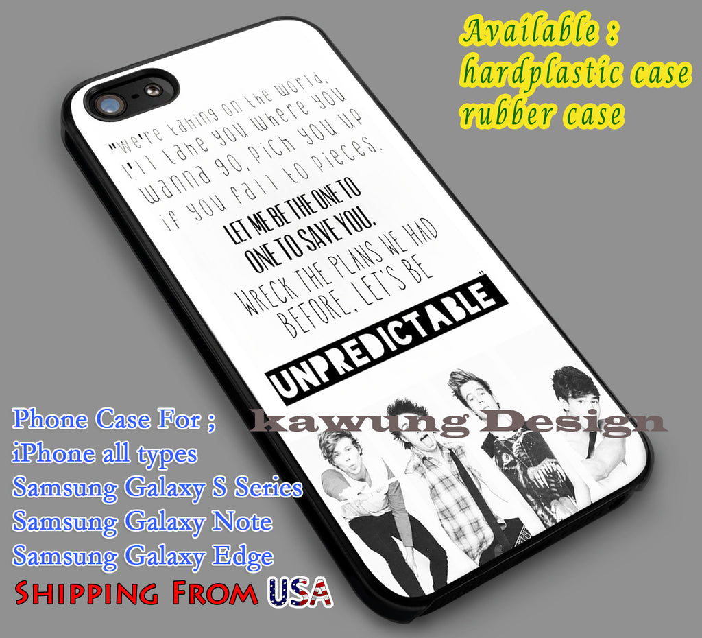 5SOS Unpredictable Lyric iPhone 6s 6 6s+ 5c 5s Cases Samsung Galaxy s5 s6 Edge+ NOTE 5 4 3 #music #5sos dl7 - K-Designs