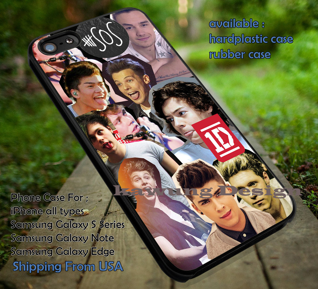 Art 5sos, luke hemmings, zayn malik, liam payn, One Direction, 1D, 5sos, 5 second of Summer, case/cover for iPhone 4/4s/5/5c/6/6+/6s/6s+ Samsung Galaxy S4/S5/S6/Edge/Edge+ NOTE 3/4/5 #music #1D #5sos ii - Kawung Design  - 1