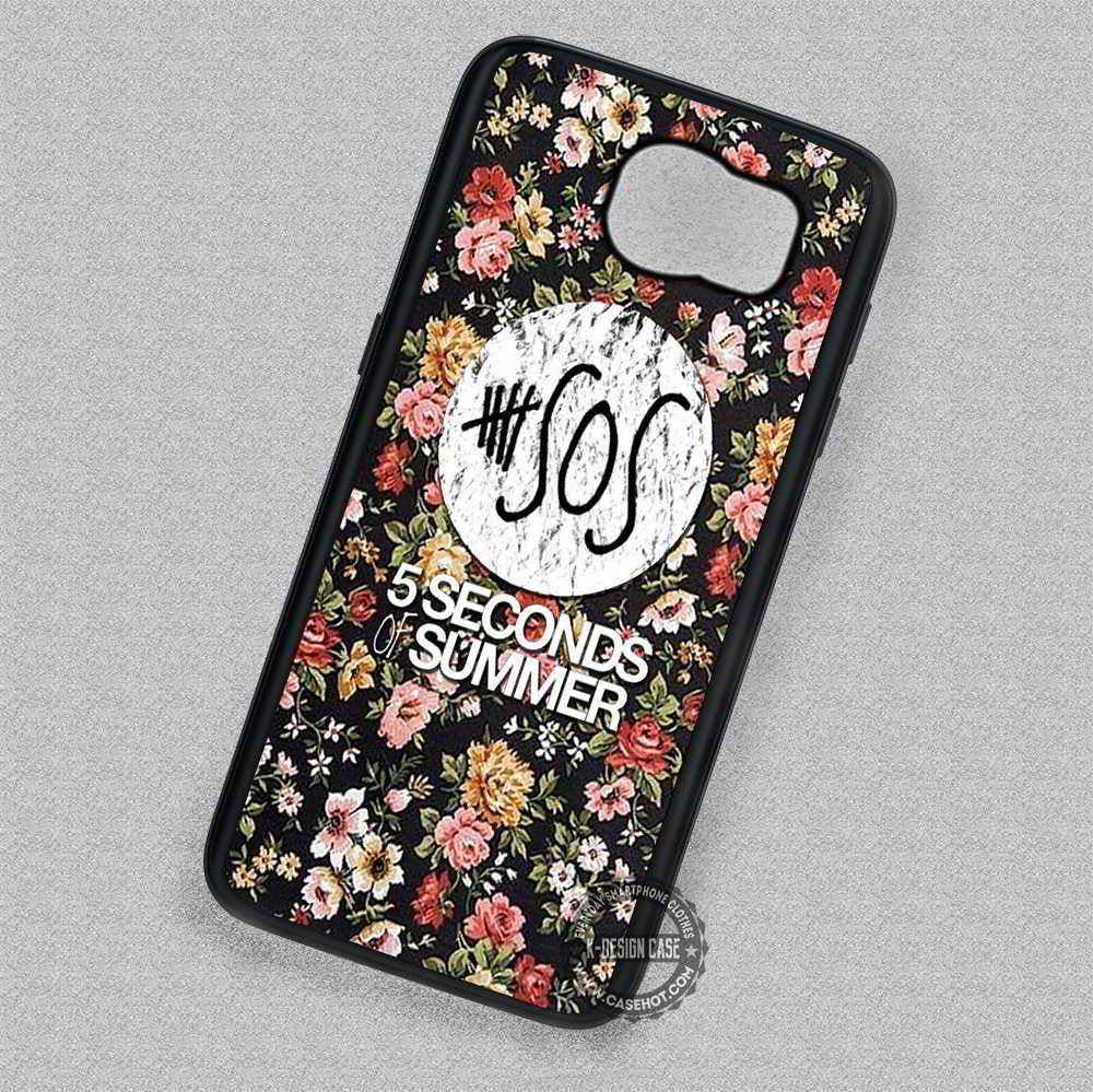 5 Seconds Of Summer On Floral - Samsung Galaxy S7 S6 S5 Note 4 Cases & Covers - Kawung Design  - 1
