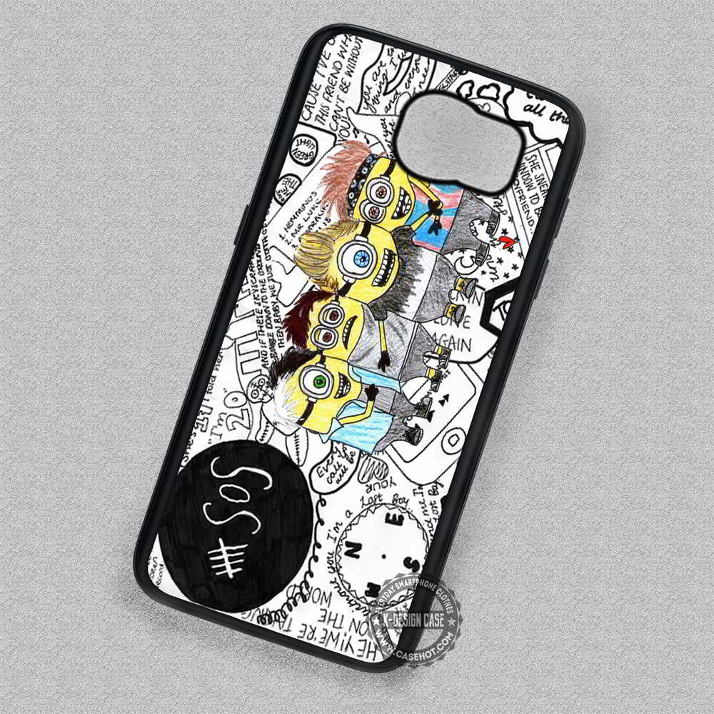 5 Seconds Of Summer Minions Collage - Samsung Galaxy S7 S6 S5 Note 5 Cases & Covers - Kawung Design  - 1