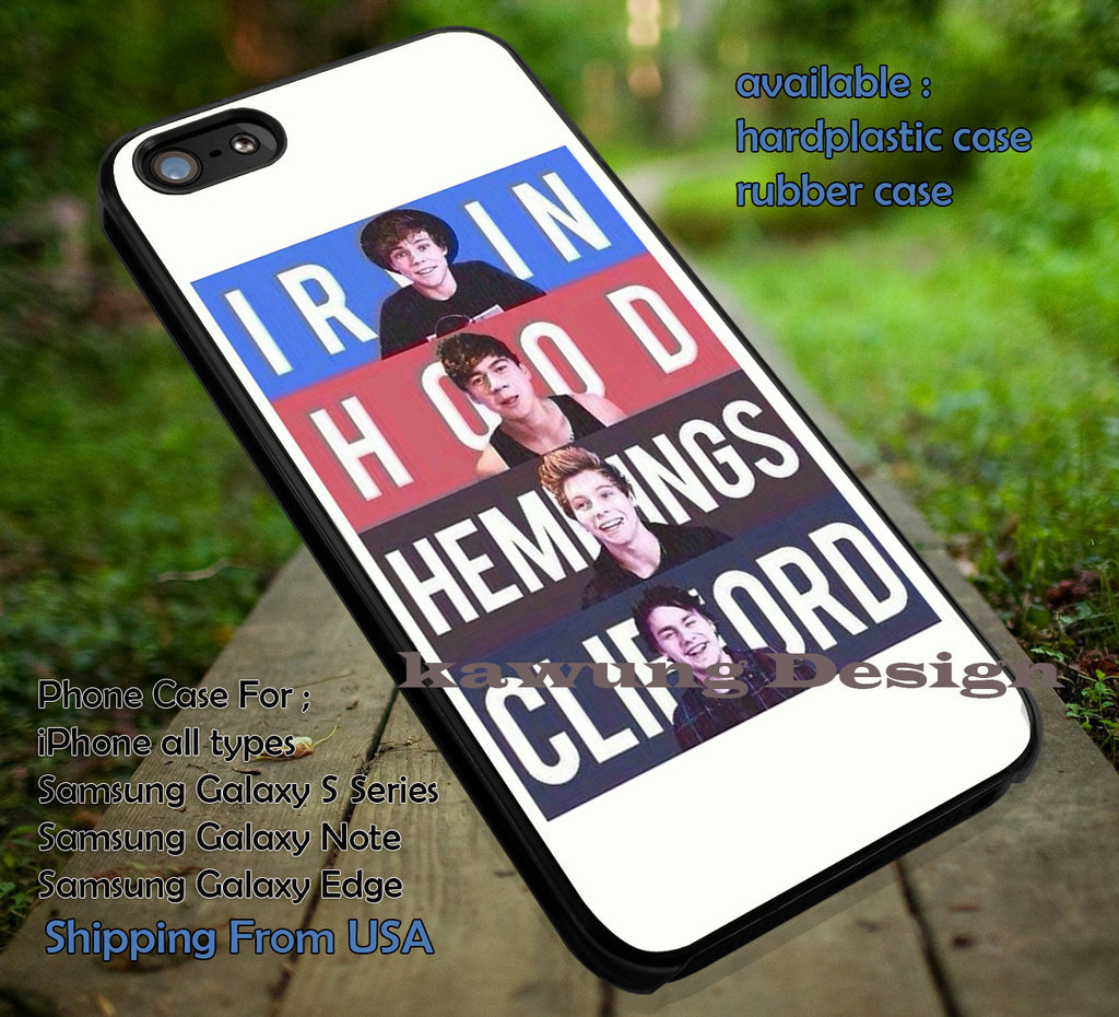 Band, irwin, hood, hemmings, clifford, music, 5sos, 5 Second of Summer, case/cover for iPhone 4/4s/5/5c/6/6+/6s/6s+ Samsung Galaxy S4/S5/S6/Edge/Edge+ NOTE 3/4/5 #music #cartoon #5sos ii - Kawung Design  - 1
