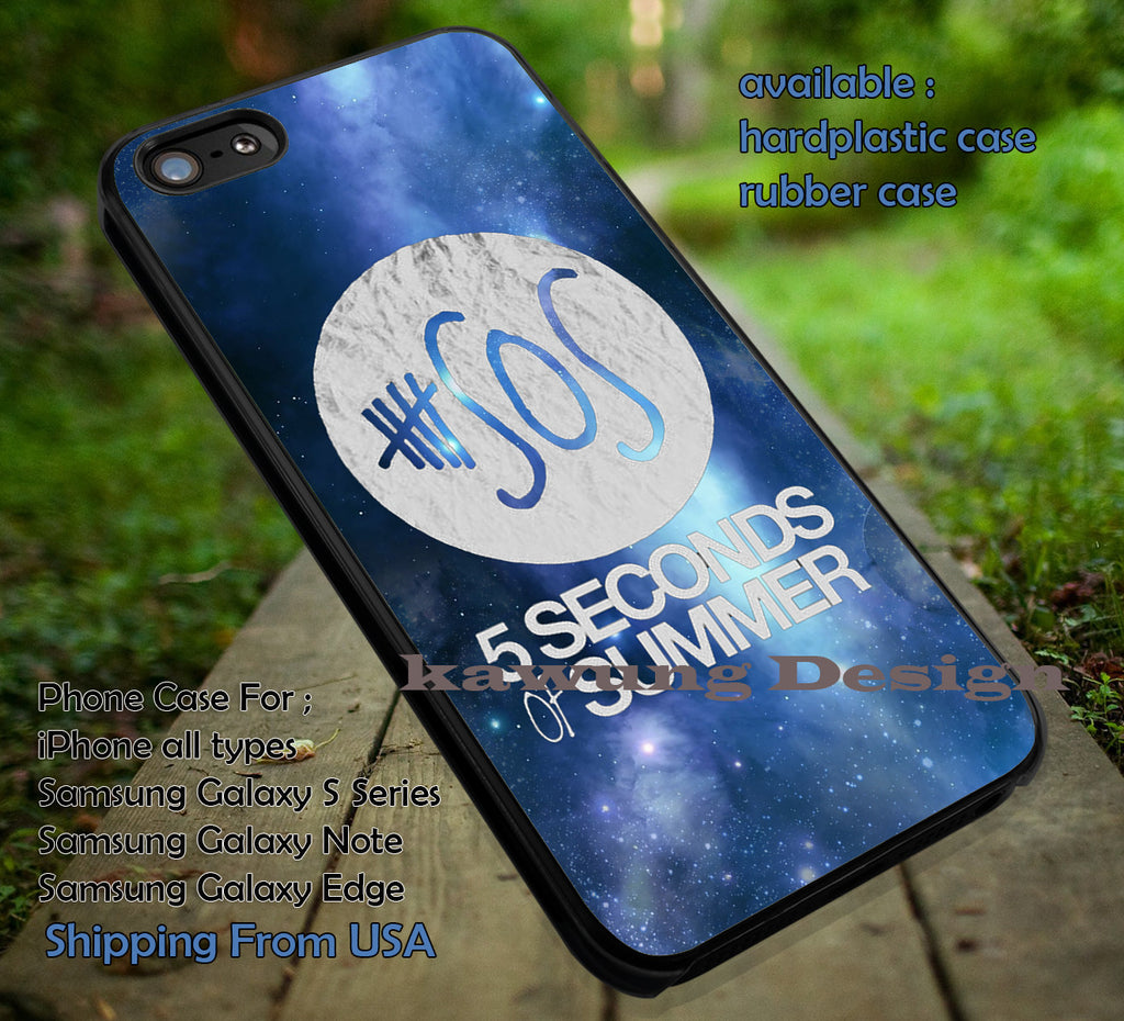 White logo, on blue galaxy, nebula, space logo band, 5sos, 5 Second of Summer, case/cover for iPhone 4/4s/5/5c/6/6+/6s/6s+ Samsung Galaxy S4/S5/S6/Edge/Edge+ NOTE 3/4/5 #music #cartoon #5sos ii - Kawung Design  - 1